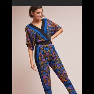 Anthropologie scarf print jumpsuit size 0